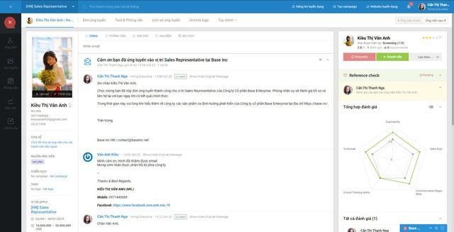 Giao diện profile ứng viên với đầy đủ thông tin giúp bạn có được chân dung ứng viên hoàn chỉnh.